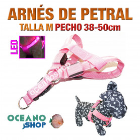 ARNÉS TALLA M LUMINOSO LED ROSA PETRAL AJUSTABLE PERRO PECHO 38-50cm