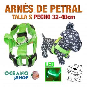 ARNÉS TALLA S LUMINOSO LED VERDE PETRAL AJUSTABLE PERRO PECHO 32-40cm