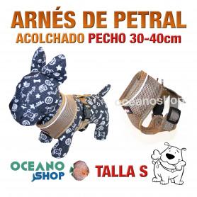 ARNÉS PETRAL ACOLCHADO Y CÓMODO AJUSTABLE PERRO TALLA S PECHO 30-40cm