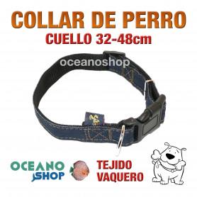 COLLAR PERRO TEJIDO VAQUERO AJUSTABLE DE CALIDAD CUELLO 32-48