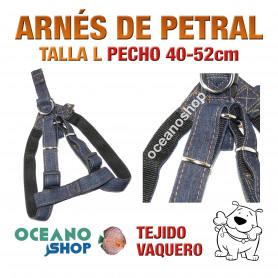 ARNÉS TEJIDO VAQUERO TALLA L PETRAL AJUSTABLE PERRO PECHO 40-52cm