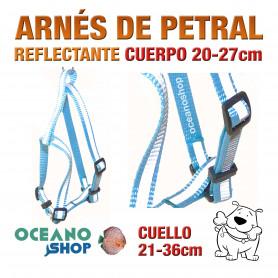 ARNÉS AZUL TEJIDO REFLECTANTE PETRAL AJUSTABLE PERRO CUERPO 20-27cm