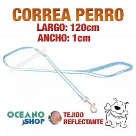 CORREA PERRO AZUL TEJIDO REFLECTANTE DE CALIDAD 120cm LARGO L65 2832
