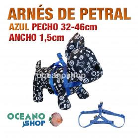 ARNÉS PETRAL AZUL CÓMODO AJUSTABLE PERRO PECHO 32-46cm ANCHO 1,5cm L67 1886