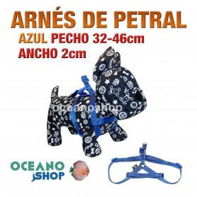 ARNÉS PETRAL AZUL CÓMODO AJUSTABLE PERRO PECHO 32-46cm ANCHO 2cm