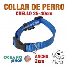 COLLAR PERRO AZUL AJCOLLAR PERRO AZUL AJUSTABLE DE NYLON CUELLO 25-40cm ANCHO 2cm