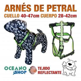 ARNÉS PETRAL VERDE TEJIDO REFLECTANTE AJUSTABLE PERRO CUERPO 28-42cm