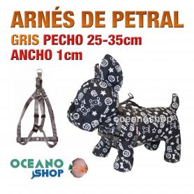 ARNÉS PETRAL GRIS CÓMODO AJUSTABLE PERRO PECHO 25-35cm ANCHO 1cm