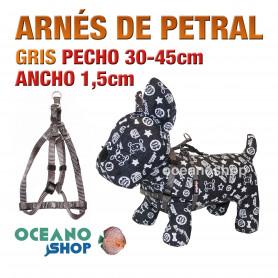 ARNÉS PETRAL GRIS CÓMODO AJUSTABLE PERRO PECHO 30-45cm ANCHO 1,5cm
