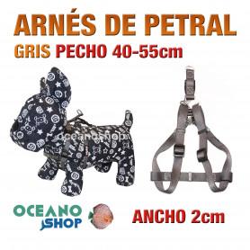 ARNÉS PETRAL GRIS CÓMODO AJUSTABLE PERRO PECHO 40-55cm ANCHO 2cm