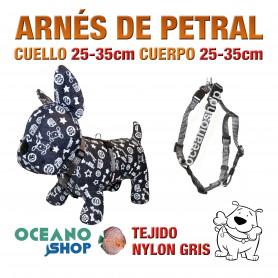 ARNÉS PETRAL PERRO NYLON GRIS DE CALIDAD AJUSTABLE CUERPO 25-35cm