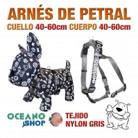 ARNÉS PETRAL PERRO NYLON GRIS DE CALIDAD AJUSTABLE CUERPO 40-60cm