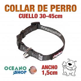 COLLAR PERRO NYLON GRIS AJUSTABLE DE CALIDAD CUELLO 30-45cm