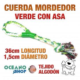 Cuerda mordedor verde con asa 36cm longitud 1,5cm diámetro algodón