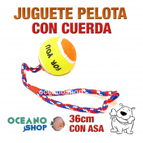 Juguete pelota de tennis perro con cuerda y asa algodón trenzado 36 cm. longitud
