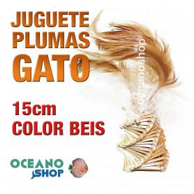 Juguete con plumas para gato color beis 15cm varillas madera