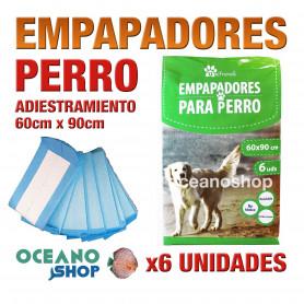 Pack empapadores perro x6 unidades 60x90cm antibacterias reciclables cachorros adiestramiento