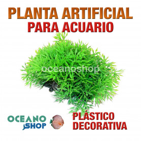 Planta artificial decoración acuario plástico verde 11cm diametro peces refugio