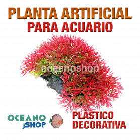 Planta artificial decoración acuario plástico roja 11cm diametro peces refugio