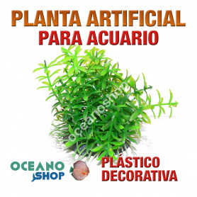 Planta artificial decoración acuario plástico verde 8cm diametro peces refugio