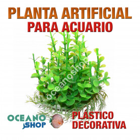 Planta artificial decoración acuario plástico verde 14cm diametro peces refugio