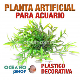 Planta artificial decoración acuario plástico verde 22cm diametro peces refugio