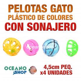 Juguete x4 pelotas gato pequeñas sonajero interior 4,5cm diámetro bolas colores plástico
