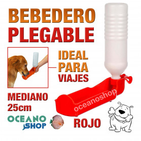 Bebedero plegable perro rojo botella mediano viajes 25cm diámetro plástico agua