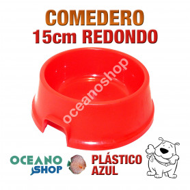 Comedero bebedero redondo perro plástico rojo pequeño 15cm diámetro