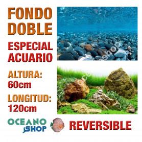 Fondo 120x60cm doble reversible decorativo fondo mar y rocas