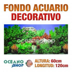 Fondo 120x60cm acuario decorativo fondo rocoso y plantas
