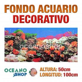 Fondo 100x50cm acuario decorativo vinilo fondo plantas y coral marinas marino peces calidad