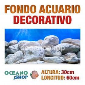 Fondo 60x30cm acuario decorativo vinilo fondo rocas blancas marino peces calidad
