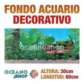 Fondo 60x30cm acuario decorativo vinilo fondo tronco y plantas marino peces calidad