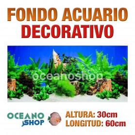 Fondo 60x30cm acuario decorativo vinilo fondo rocas y plantas marino peces calidad