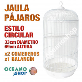 Jaula pájaros 33 cm diametro x 69 cm