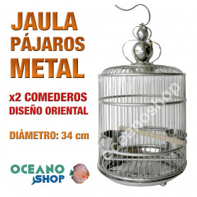 Jaula pájaro metálica 34 cm diametro