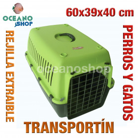 Transportín perros y gatos 60x39x40 cm