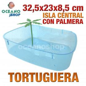 Tortuguera con isla central y palmera 32,5x23x8,5 cm