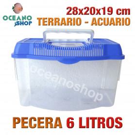 Pecera 6L acuario terrario de plastico 28x20x19 cm