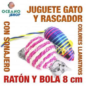 Juguete rascador gato ratón ratón multicolor y bola con sonajero 8cm