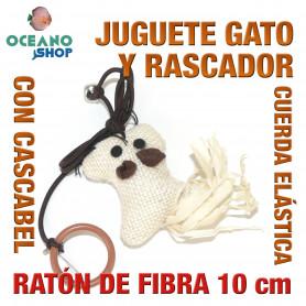 Juguete rascador gato ratón de fibra con cuerda elástica + cascabel y cola 10cm