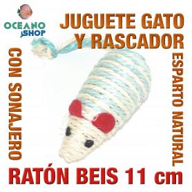 Juguete rascador gato ratón esparto natural y sonajero 11 cm