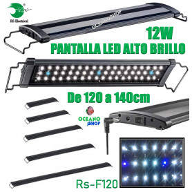 Pantalla regulable led 120-140cm 12w rs-f120 alto brillo acuario 6500k pecera rs electrical