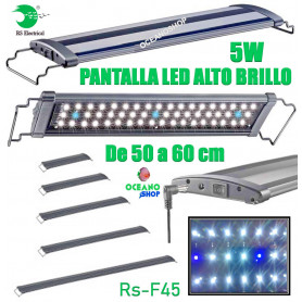 Pantalla regulable led 40-50cm 5w rs-f45 alto brillo acuario 6500k pecera RS electrical
