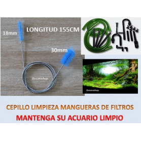 CEPILLO DOBLE LIMPIA TUBOS para ACUARIO 155cm con muelle cepillos de 18 y 30mm