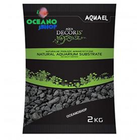 Grava fina negra basalto 2kg aquael